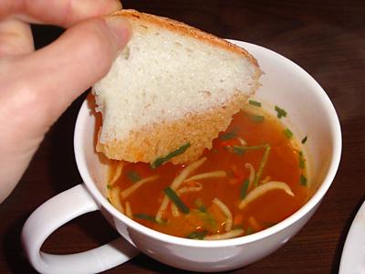 ユッケジャンスープにゴパンを浸してクッパ風。