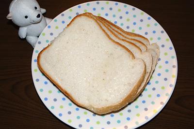 ササニシキお米食パンをスライスしていただきました。