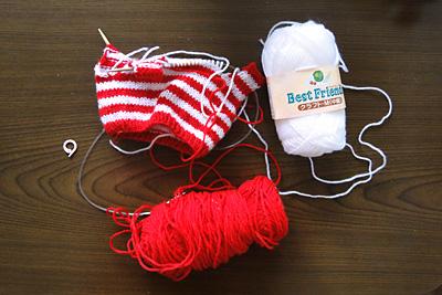 輪編みで縞々