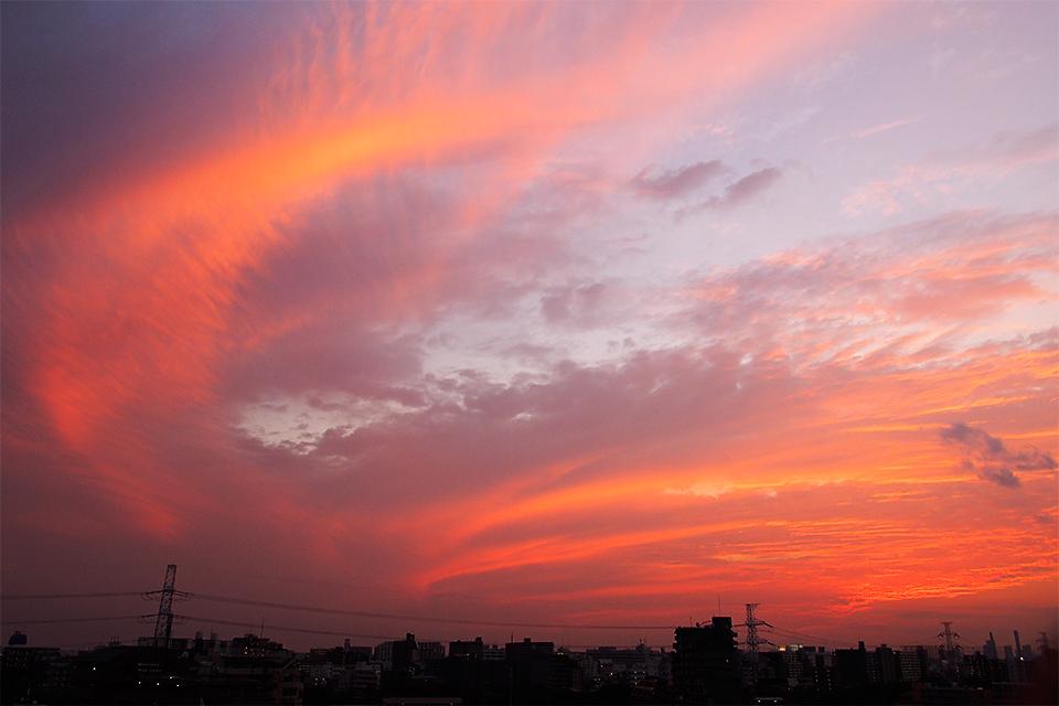 火の鳥のような夕焼け雲
