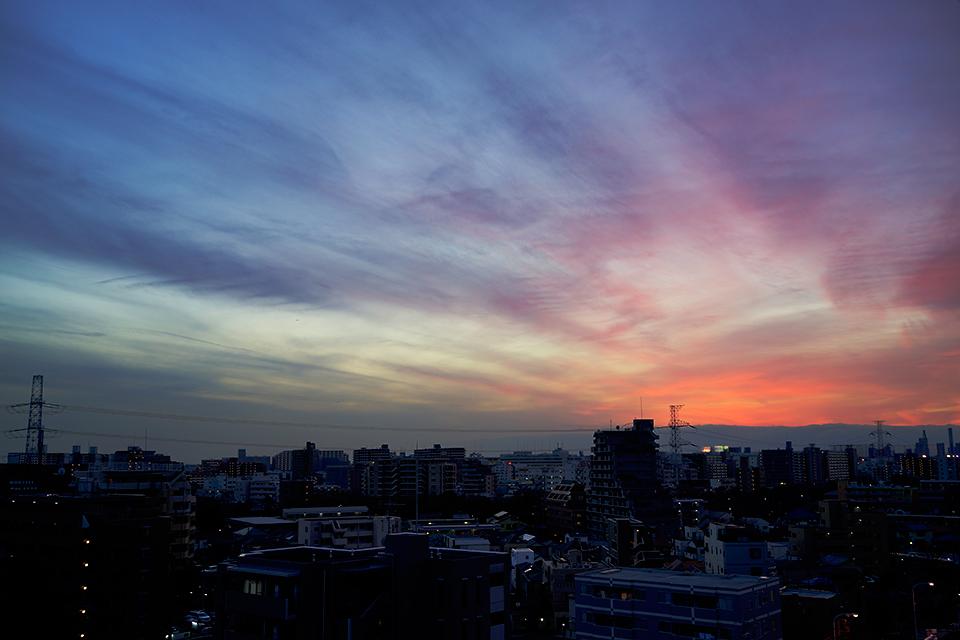 懐かしいピンク色の夕暮れ