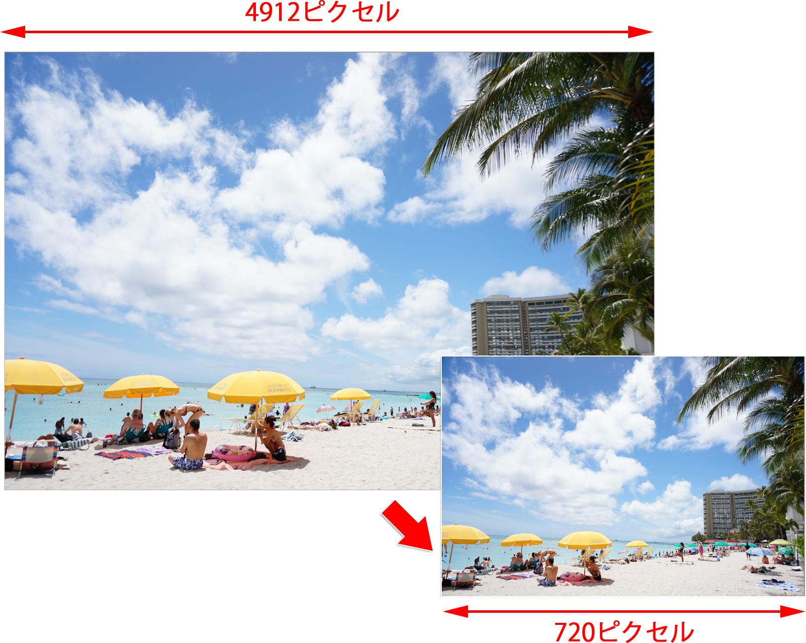 例えば4912ピクセルの写真を720ピクセルにリサイズするには?