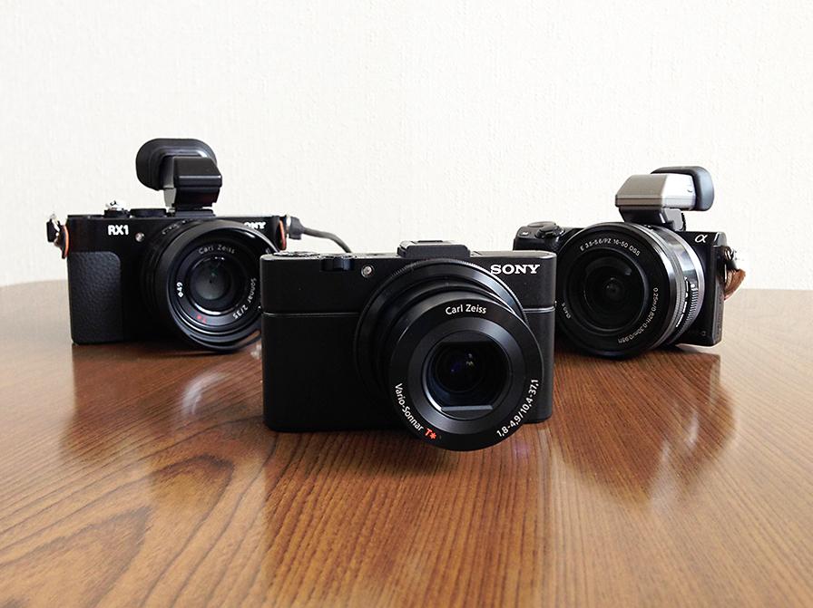 左からRX1、RX100 II、NEX-5R