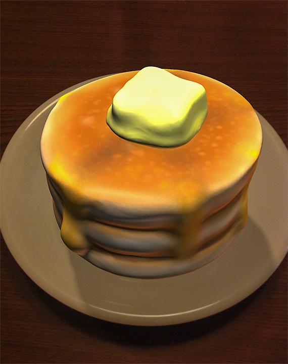 123D Creatureで作った夜のパンケーキ