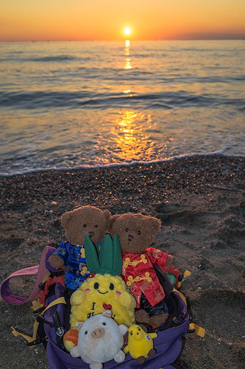 稲毛海岸の夕日