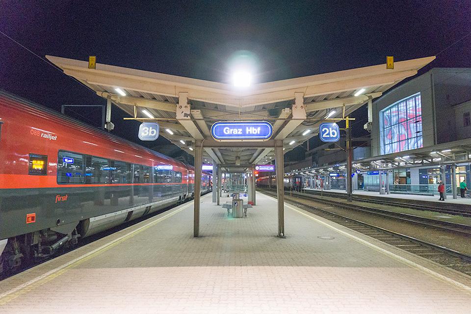 グラーツ・ハウフトバーンホフ(これがどうしても読めなかった)中央駅。終点。