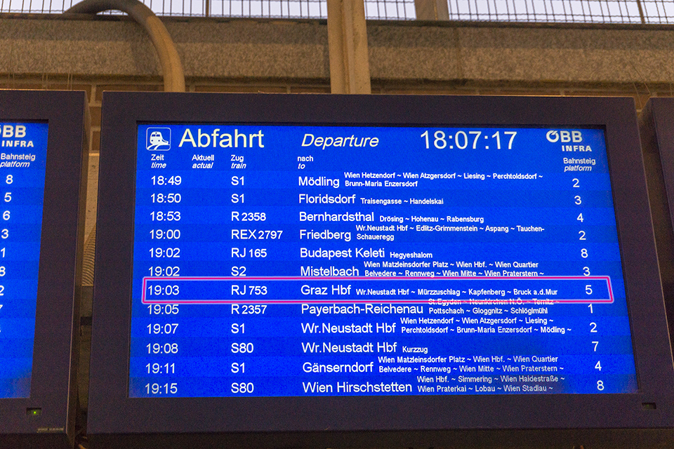 Wien Meidling駅発のグラーツ行き高速列車。