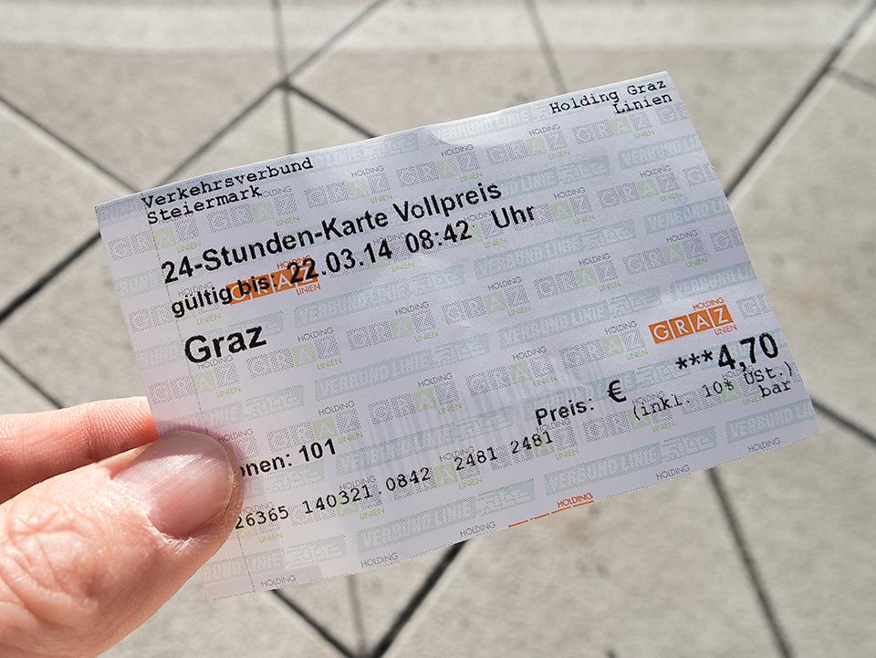 トラムの1日券チケット。