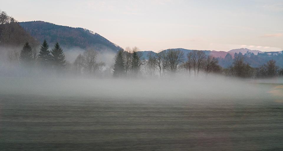 朝靄に覆われた風景。映画みたいだ〜。