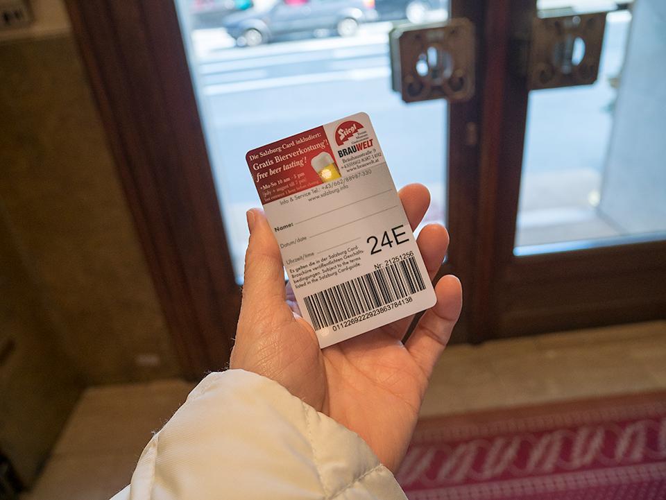 ザルツブルクカードの24時間用。紙ではなく樹脂製。