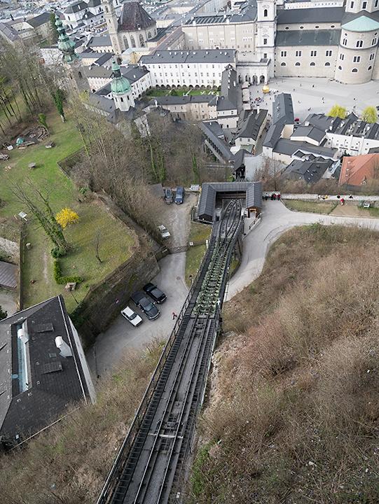 上から見たケーブルカーの線路。