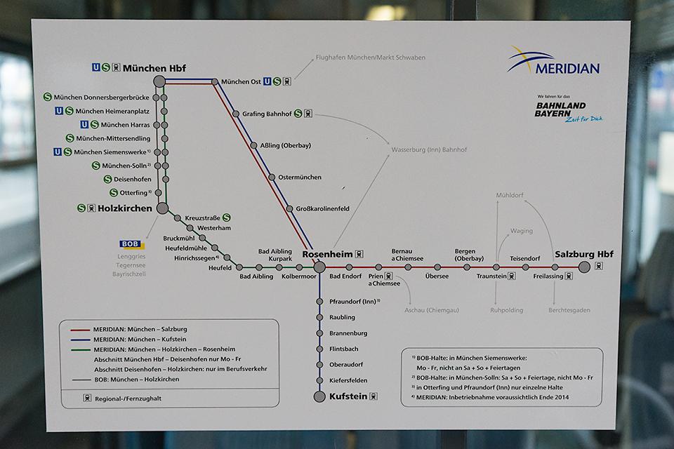 ザルツブルクからミュンヘンまでの路線図。