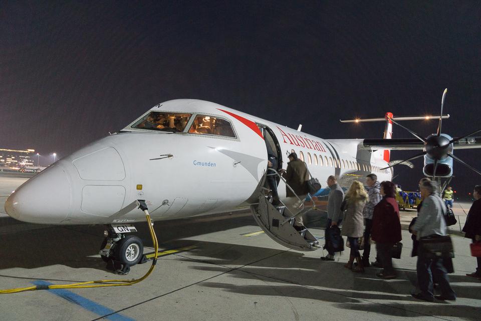 ウィーンからグラーツ行きの飛行機。