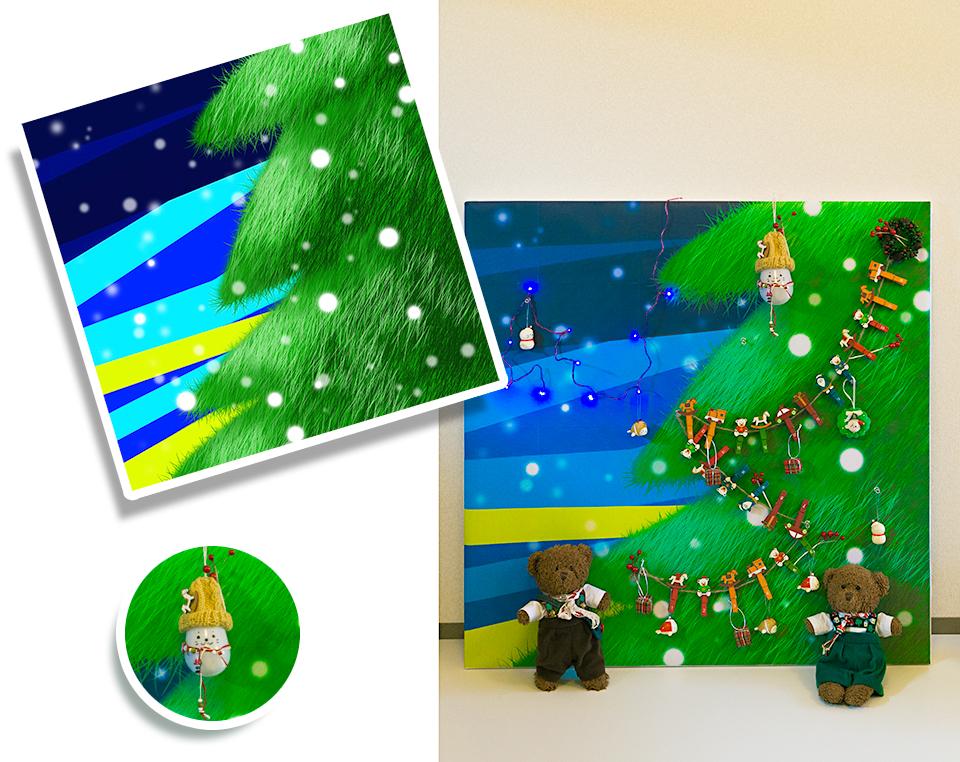 断熱材を使ったクリスマスツリー壁紙