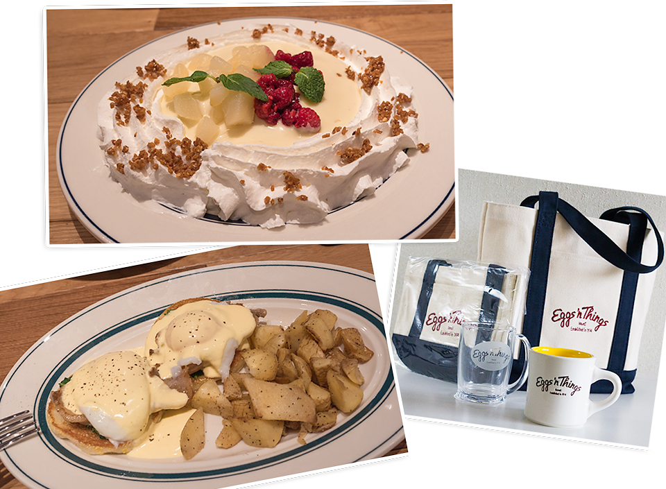 ららぽーと TOKYO-BAYのEggs' n Things。「洋梨とラズベリーのパンケーキ」と、「エッグベネディクト」